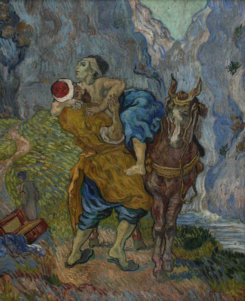 "Vincent Van Gogh's ""The good samaritan"" shows prosocial behaviour, where the Good Samaritan helps a sick man on a horse"
